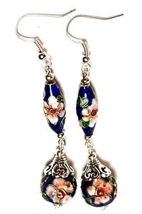 Long-Blue-Chinese-Cloisonne-Bead-Earrings-Antique-Vintage-Style-Pierced
