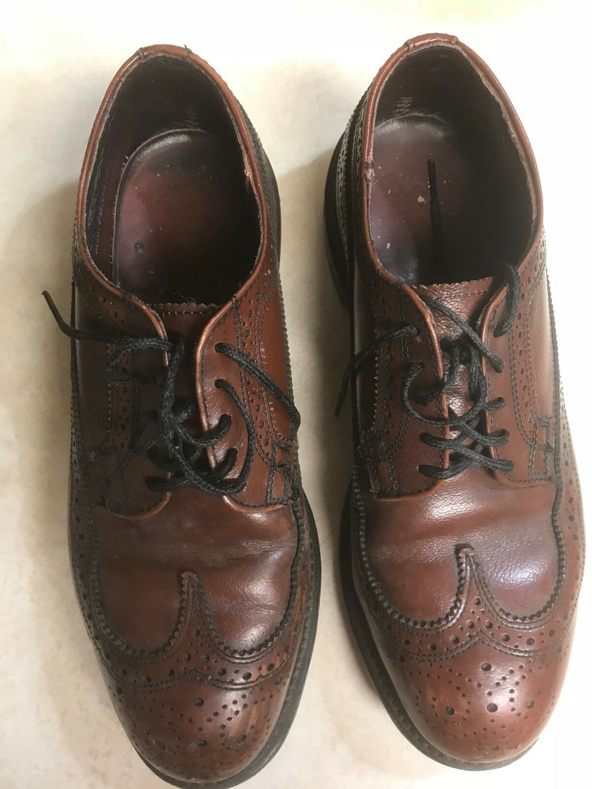 Vintage LEHIGH MENS BROWN  LEATHER OXFORD WING TIP STEEL TOE DRESS SHOES 7.5