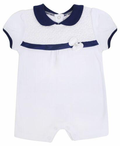 Baby Girls Short Smart Romper Suit Lace Front Plain Cotton Bodysuit 0-12 Months