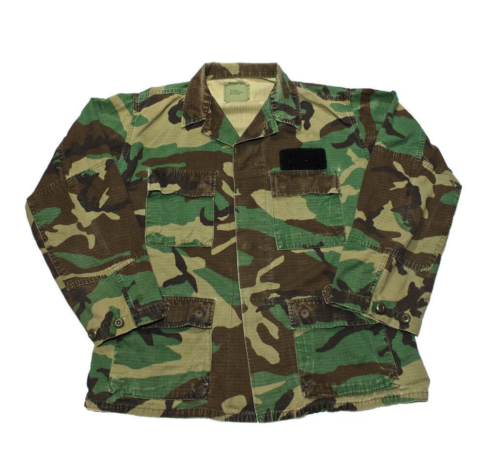 Vintage Military Issued Hot Weather Woodland Camouflage Combat Coat Mens Medium