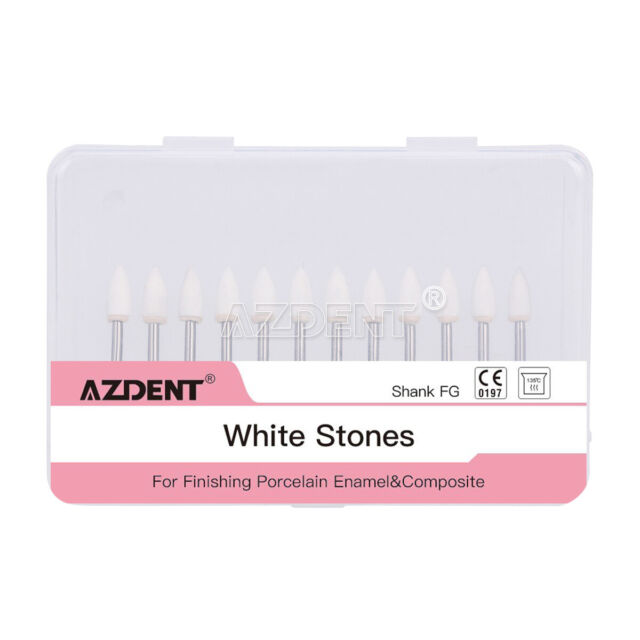 Dental CW1064 Flame White Stone Polishing FG Burs Abrasion Aluminum Oxide