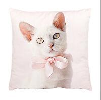 Pink Kitten Cushion White Cat Ashdene Throw Pillow Velvet Bow 12.5 Square