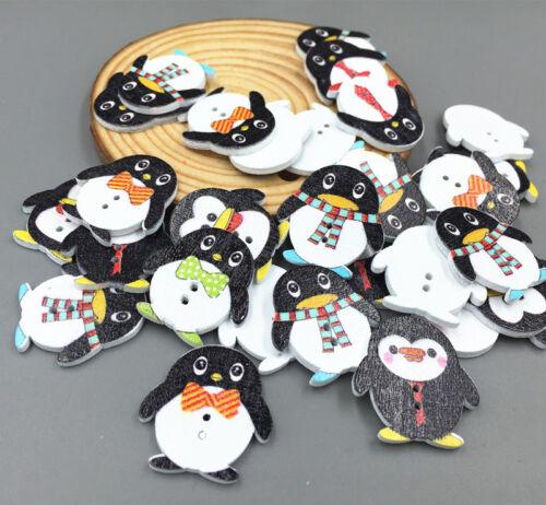 NEW Penguin wooden buttons sewing Scrapbooking Appliques handicraft 25mm