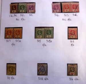 LOT-OF-14-OLD-CEYLON-STAMPS-KGV-SG301-314-MOSTLY-F-U