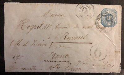 Briefmarken Liefern 1888 Argentinien Paquebot Zu Rennes Frankreich NüTzlich FüR äTherisches Medulla