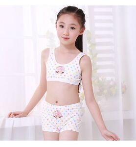 c63d4c4dfd Image is loading Puberty-Girl-Cotton-Soft-Bra-Pant-Student-Underwear-