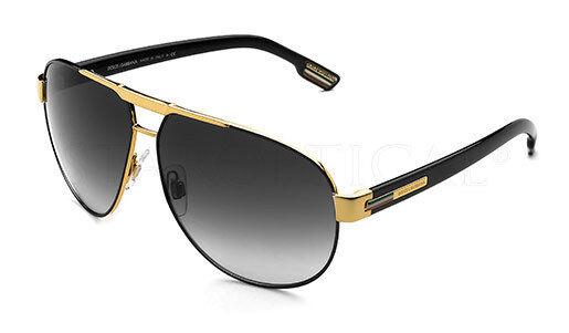 RARE Genuine Dolce & Gabbana Metal Aviator Gold Black Sunglasses DG 2099 1081/8G