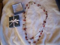 Beautiful Silver & Red Glass Bead Necklace 32 Msrp $69.99