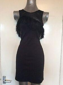 Größe 8, EUR 36 schwarz Kurz/Mini Kleid, Topshop, Bnwt, Rrp £ 45, Quaste, Bodycon