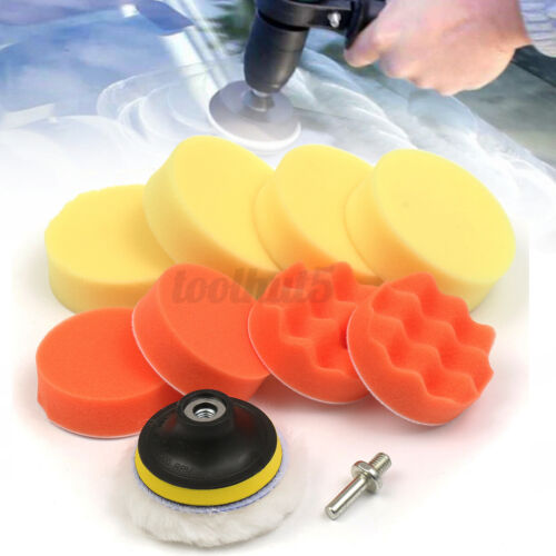 10Pcs 3/'/' Car Polishing Buffing Pad Hand Sponge Buffer Set W// 8mm Drill Adapter