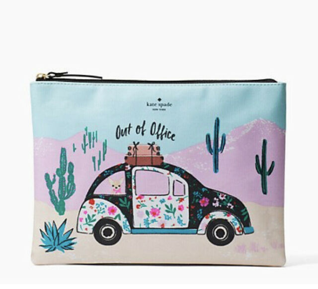 KATE SPADE New Horizons Out Of Office GIA Pouch Clutch Beetle Car WLRU4913 NWT
