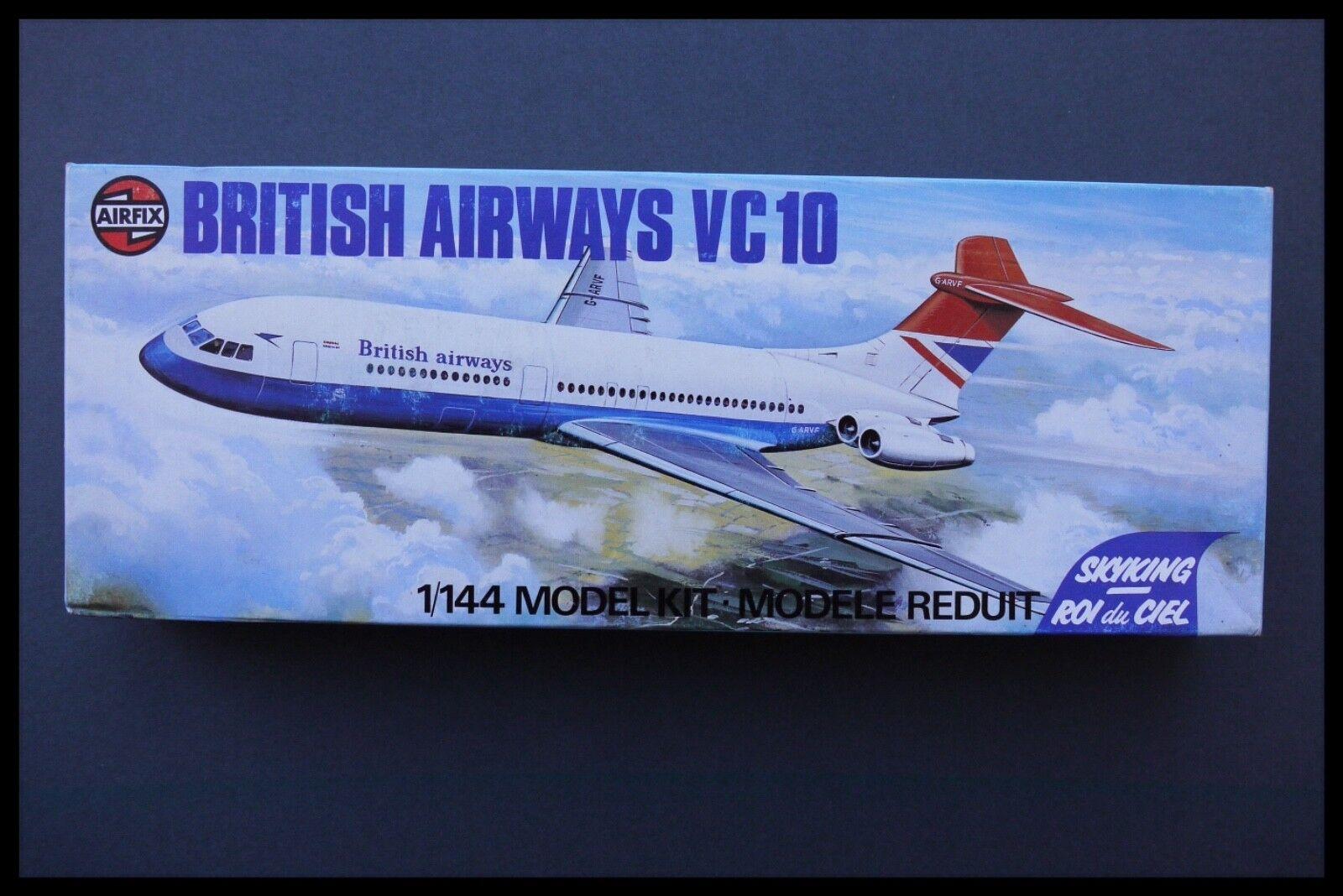 VINTAGE AIRFIX BRITISH AIRWAYS VC10 1 144 SCALE PLASTIC MODEL KIT SEALED BAG