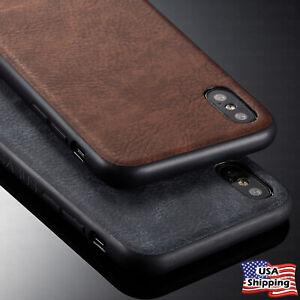Pour-iPhone-XR-XS-Max-x-Dos-Cuir-Ultra-Mince-Slim-Tpu-Dur-Hybride-Housse