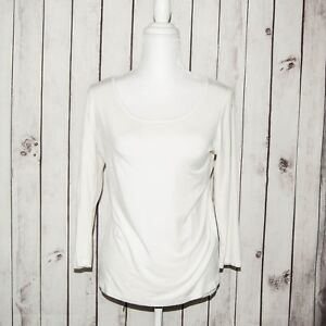 Comfy-USA-Women-039-s-Long-Sleeve-Scoop-Neck-Blouse-White-Modal-Size-Small