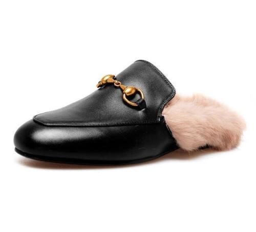 Damen Mules Leder Kaninchenfell Hausschuhe Flache Metal Schuhe Loafers Slipper