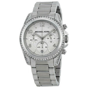 Michael Kors MK5165 Blair Silver Chronograph Dial Crystal Bezel Women's Watch