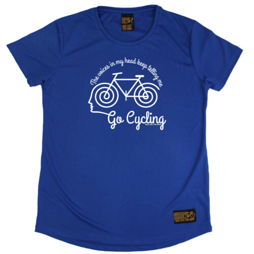 The Voices In My He Cycling T-Shirt Funny Womens R Neck Sports Performance Tee