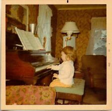 Old Vintage Photograph Adorable Little Girl Playing Piano in Retro Living Room