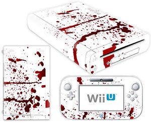 Nintendo-Wii-U-Skin-Design-Foils-Sticker-Screen-Protector-Set-Blood-Motif