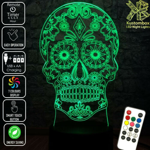 SKULL CANDY MEXICAN DAY OF DEAD LED BATTERY USB NIGHT LIGHT 7 COLOURS REMOTE