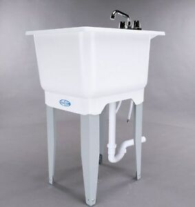 Image Is Loading White Utility Laundry Sink With Faucet And Drain