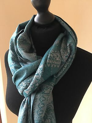 High Quality Soft Pashmina Teal Evening Shawl Scarf Wrap Up Stole Festive Design