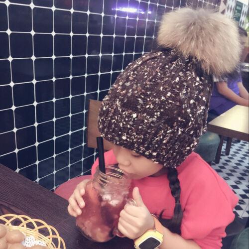 Winter Warm Child Kids Girls Boy Beanie Hat Crochet Knit Fur Pom Bobble Ski Cap