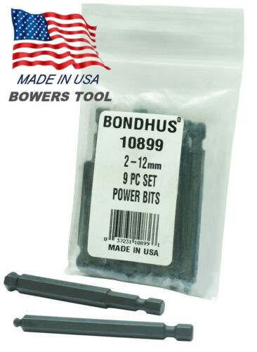 Bondhus 9pc 1//4in Shank Hex Power Bit Set Metric 2-12mm BallDriver USA 10899