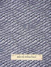 Printed Fish Net Cotton Fabric Benertex Neptunes Dream #05220 Blue White YARD