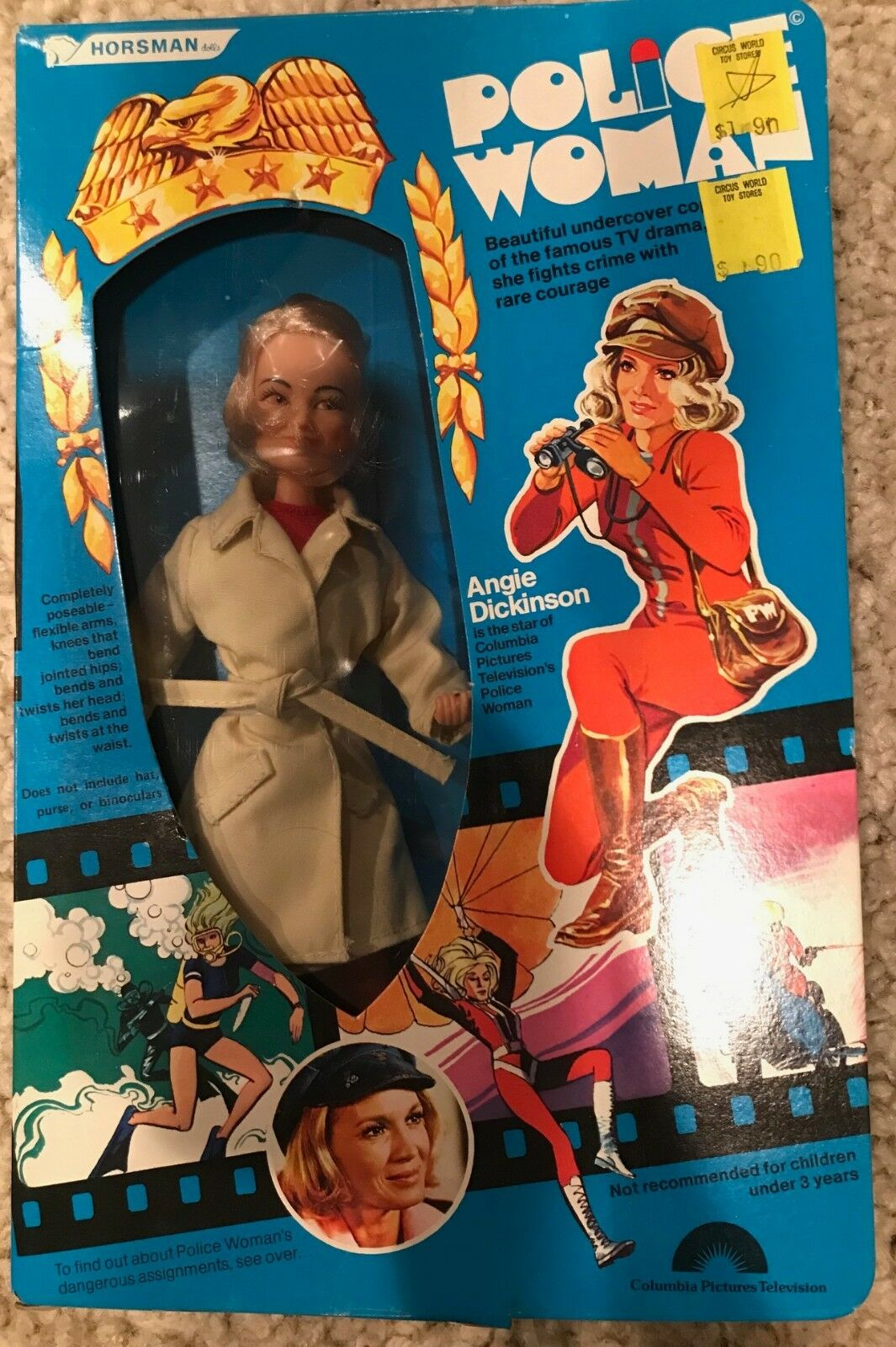 Vintage 1976 Angie Dickinson Horsman 9  Muñeca de donna Policía figura de acción MIB
