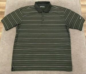 Details about NIKE GOLF Dry-Fit Polo Shirt MEN'S MEDIUM M Black/Gray Striped S/S Golfing Mens