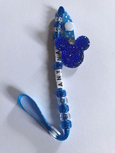 Crystal Rhinestone Dummy Clips ~ Any Name  ~ Royal Blue /& Purple ~ NEW ~ BLING
