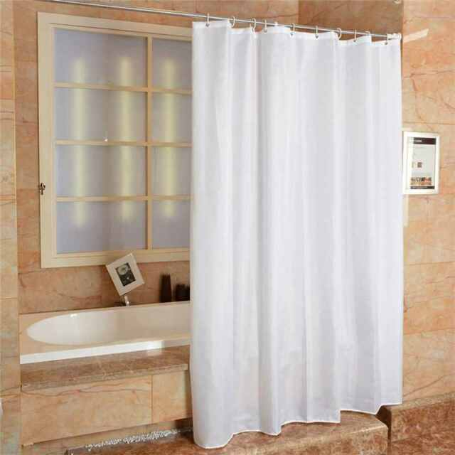 Fabric Shower Curtain Plain White Extra Wide Long Standard With Hooks Ring