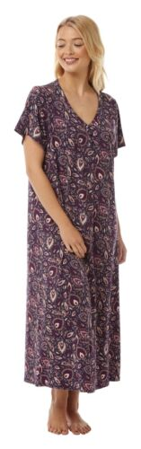 Ladies Nightdress Short Sleeves Long Length Paisley//Feather Design 14//16