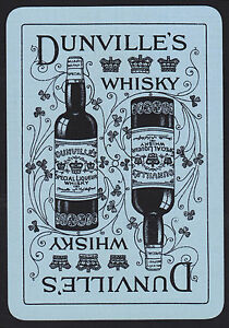 1-Single-VINTAGE-Playing-Swap-Card-OLD-WIDE-DUNVILLE-039-S-WHISKY-Blue-Black
