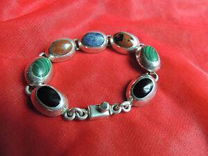 Vintage-Beautiful-Sterling-Silver-Mexico-Taxco-Multi-Color-Bracelet-38-9-grams