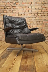 70er Designer Leder Sessel Lounge Leather Club Chair Vintage