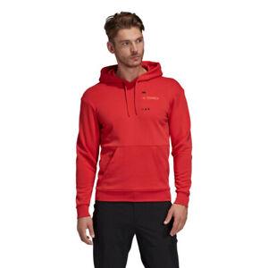Hommes-Adidas-TERREX-Logo-Sweat-a-Capuche-De-Sport-Rouge-Gym-a-Capuche-Respirant-Taille-M