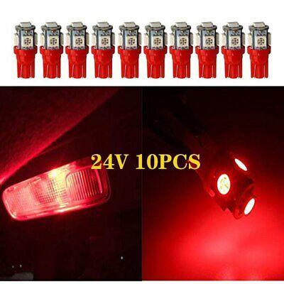 10 PCS Super Bright Red T10 5 SMD 5050 LED Chip DC24V 1250 1251 1252 2450 2652