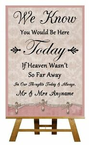 Pink Shabby Chic  In Loving Memory Absence Personalised Wedding Sign