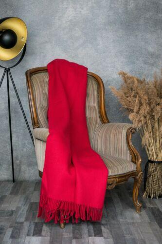Blanket Throw Bed Sofa Fleece Cozy Solid Soft Warm 100/% Wool 130x200cm Red Best