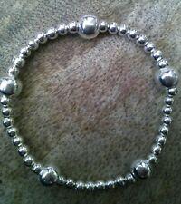 Bola de apilamiento de plata con cuentas pulsera Boho Stretch