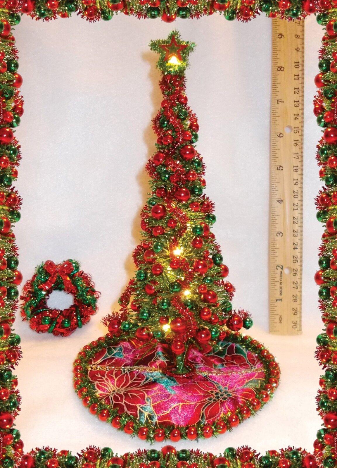 nuevo  uno de una clase Art Decó 8-1 2  iluminada Casa de muñecas en miniatura Modern árbol de Navidad