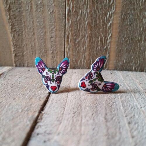 100 /% Plastic for Sensitive Ears. Chihuahua Sugar Skull Earrings