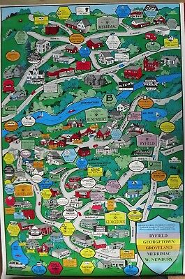 Georgetown Merrimac Poster Pictorial Map Byfield West Newbury MA Groveland