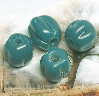 4 Glasperlen Petrol Grün nach Fund Birka Hand gearbeitet Loch:ca.2mm D:9,5-11 mm