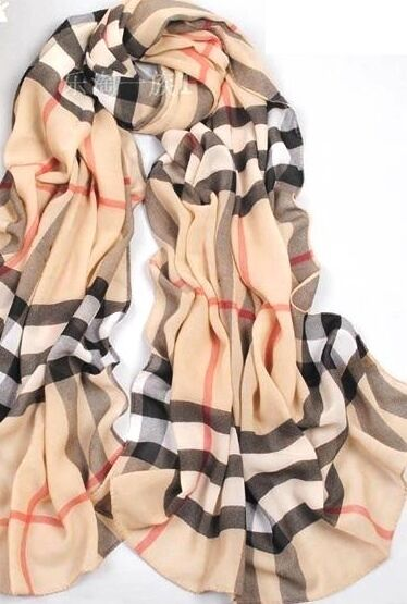 Brand new Ladies Celebrity Design Coffee Plaid Classic Scarf
