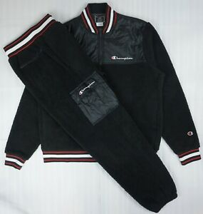 CHAMPION 2P Set Men's Sherpa Baseball Jacket & Pants Sz L ...