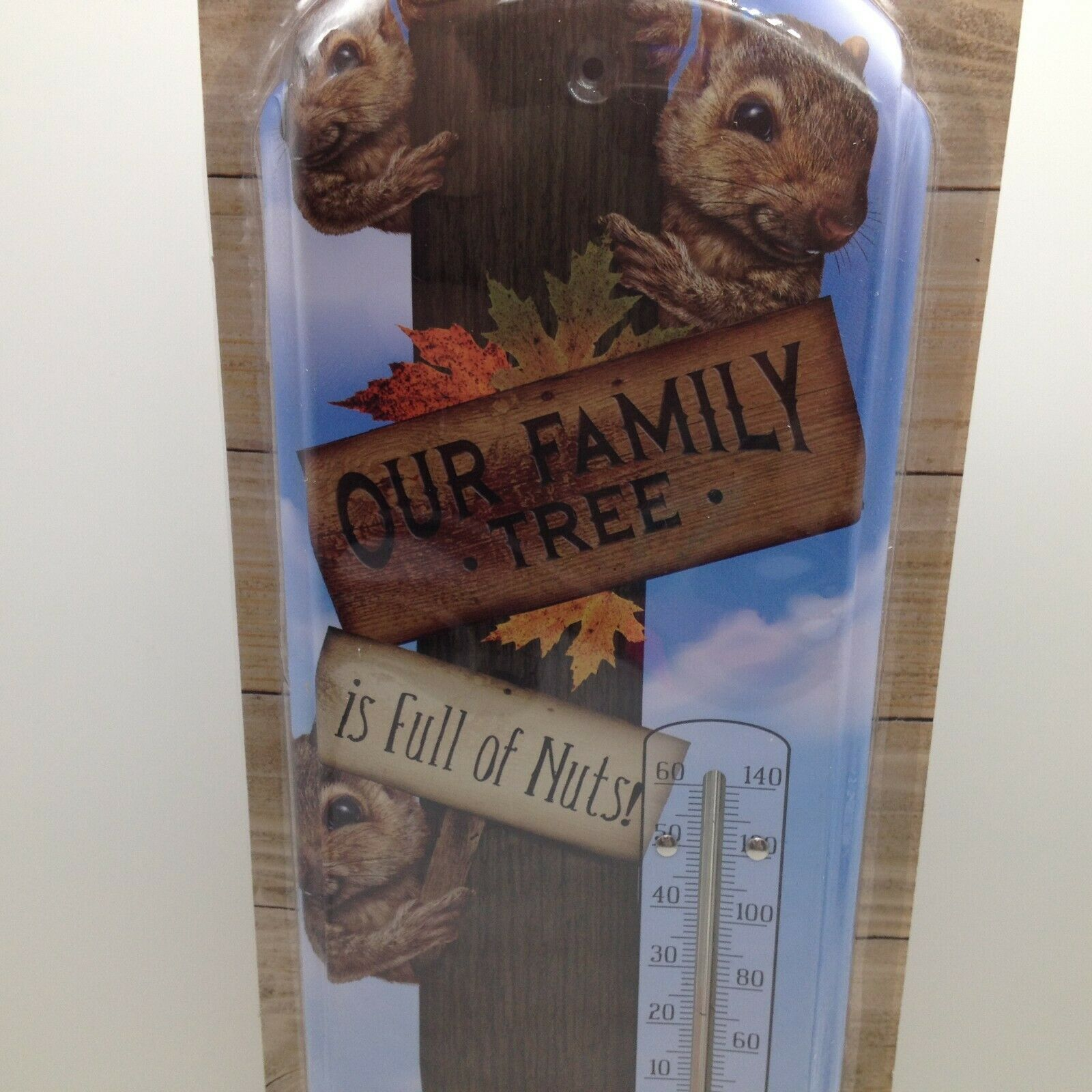 Our Family Tree is Full of Nuts Squirrel Indoor Outdoor Thermometer Metal 17.5