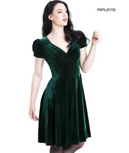 Hell-Bunny-40s-50s-Elegant-Pin-Up-Dress-JOANNE-Crushed-Velvet-Green-All-Sizes